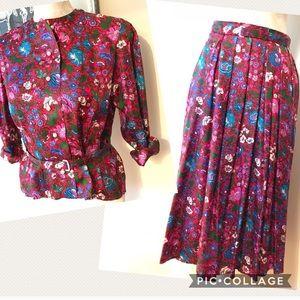 Dresses & Skirts - Bespoke Floral Silk 3 piece skirt set S/M